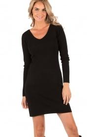 Knit-ted | Fijngebreide jurk Lot | zwart  | Afbeelding 2