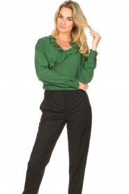 Fracomina |  Blouse with ruffles Mary | green  | Picture 2