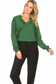 Fracomina |  Blouse with ruffles Mary | green  | Picture 4