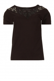 Fracomina |  Top with lace Genny | black  | Picture 1