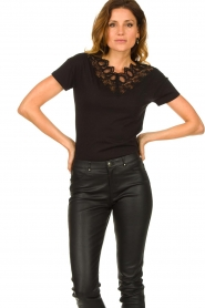 Fracomina |  Top with lace Genny | black  | Picture 4