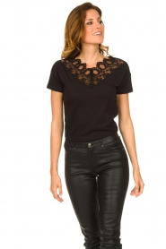 Fracomina |  Top with lace Genny | black  | Picture 3