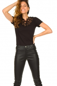 Fracomina |  Top with lace Genny | black  | Picture 2
