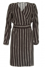 Knit-ted |  Striped wrap dress Glenda | black  | Picture 1
