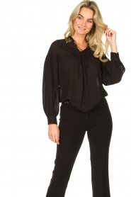 Fracomina |  Blouse with decorated collar Desy | black  | Picture 4