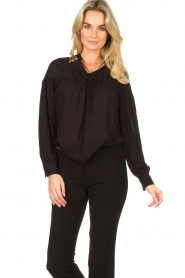 Fracomina |  Blouse with decorated collar Desy | black  | Picture 2