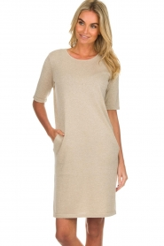 Knit-ted |  Dress with lurex finish Lies | beige  | Picture 2