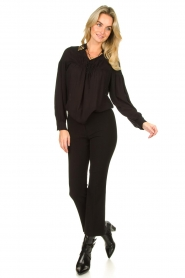 Fracomina |  Trousers with rhinestones Allessandra | black  | Picture 3