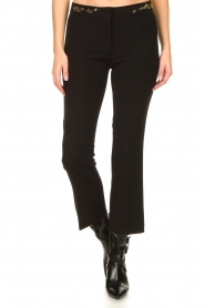 Fracomina |  Trousers with rhinestones Allessandra | black  | Picture 4