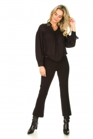 Fracomina |  Trousers with rhinestones Allessandra | black  | Picture 2