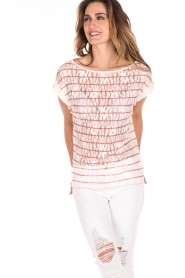 Linen top with lace Maglia | white