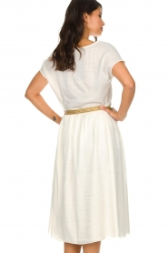Knit-ted |  Midi skirt with sheen finish Vinci | white  | Picture 6