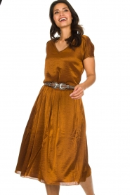 Knit-ted |  Midi skirt with sheen finish Vinci | brown  | Picture 4