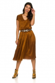 Knit-ted |  Midi skirt with sheen finish Vinci | brown  | Picture 3