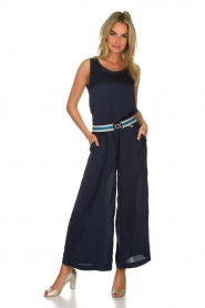 Knit-ted |  Shiny wide pants Vonda | navy  | Picture 2