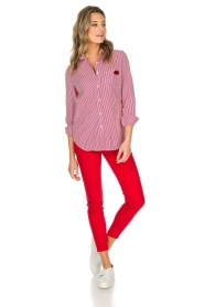 Essentiel Antwerp | Gestreepte blouse Paksoi | rood  | Afbeelding 3