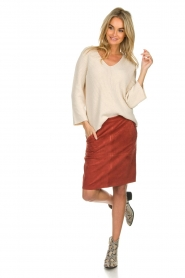 Knit-ted |  Skirt with suede look Pascal | brown  | Picture 3