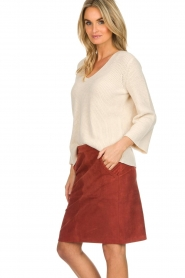 Knit-ted |  Skirt with suede look Pascal | brown  | Picture 4