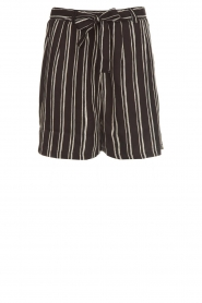 Knit-ted |  Shorts with vertical stripes Gisele | black   | Picture 1