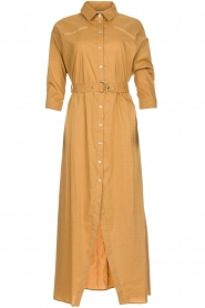 Patrizia Pepe |  Midi shirt dress with waistbelt Zita | camel  | Picture 1