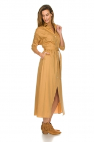 Patrizia Pepe |  Midi shirt dress with waistbelt Zita | camel  | Picture 3