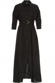 Patrizia Pepe | Midi blousejurk met tailleriem Zita | zwart  | Afbeelding 1