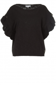 Patrizia Pepe |  Top with silver coloured studs Hermione | black  | Picture 1