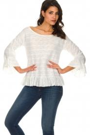 Patrizia Pepe |  Sweater with ruffles Ylona | black  | Picture 2
