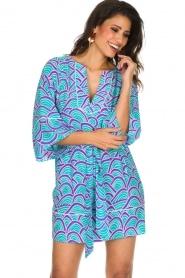 Alice & Trixie | 100% zijden jurk Carolina | Blauw  | Afbeelding 2