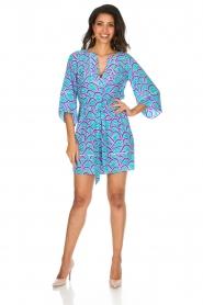 Alice & Trixie | 100% zijden jurk Carolina | Blauw  | Afbeelding 3