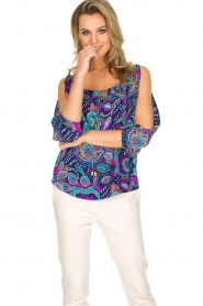 Alice & Trixie |  100% silk top with slit sleeves Molly | dark blue  | Picture 2
