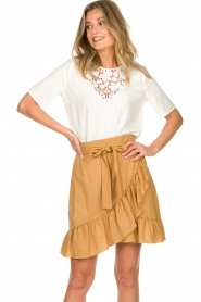 Patrizia Pepe |  Ruffle skirt Luciana | brown  | Picture 2