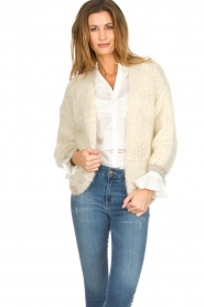 Les tricots d'o |  Wool cardigan Ilvy | white  | Picture 5