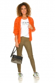 Les tricots d'o |  Wool cardigan Eline | orange  | Picture 3