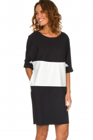 D-ETOILES CASIOPE |  Wrinkle free oversized dress Reçu | black & white  | Picture 2