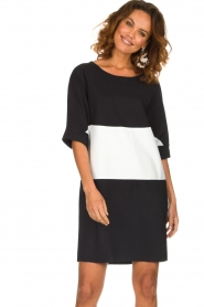 D-ETOILES CASIOPE |  Wrinkle free oversized dress Reçu | black & white  | Picture 4