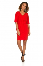 Kocca |  Dress with butterfly sleeves Cuban | red  | Picture 3