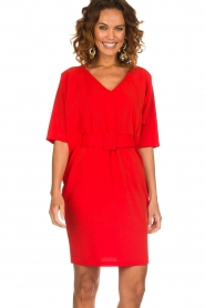 Kocca |  Dress with butterfly sleeves Cuban | red  | Picture 2