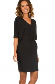 Kocca |  Dress with butterfly sleeves Cuban | black  | Picture 4