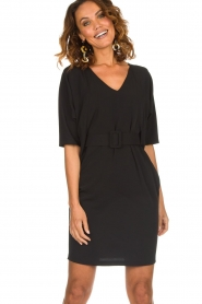 Kocca |  Dress with butterfly sleeves Cuban | black  | Picture 2