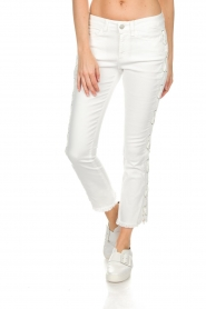 Hunkydory |  Cropped jeans with lace-up sides Harley | white  | Picture 3