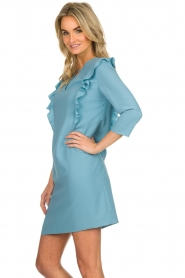 Kocca |  Dress with ruffles Collen | blue  | Picture 4