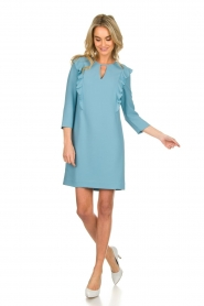 Kocca |  Dress with ruffles Collen | blue  | Picture 3