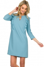 Kocca |  Dress with ruffles Collen | blue  | Picture 2