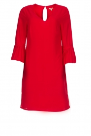 Kocca |  Dress with pleated sleeve ends Roches | red  | Picture 1