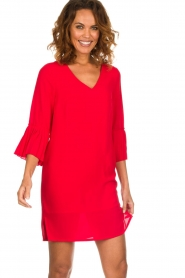 Kocca |  Dress with pleated sleeve ends Roches | red  | Picture 2
