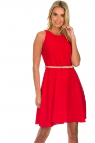 Kocca |  Dress with glitter belt Afdar | red  | Picture 4
