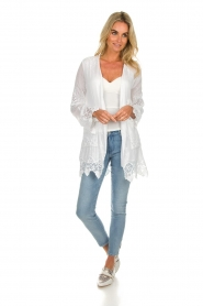 Fracomina |  Cardigan with lace Winnifred | white  | Picture 3