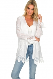 Fracomina |  Cardigan with lace Winnifred | white  | Picture 2