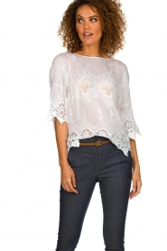 Fracomina |  Top with lace Donnatella | white  | Picture 2
